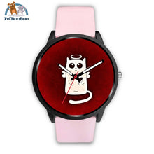 White Angel Cat Black Watch Mens 40Mm / Pink Leather