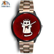 White Angel Cat Black Watch Mens 40Mm / Rose Gold Metal Link