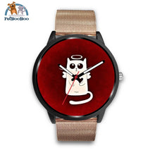 White Angel Cat Black Watch Mens 40Mm / Rose Gold Metal Mesh