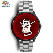 White Angel Cat Black Watch Mens 40Mm / Silver Metal Link