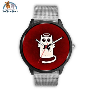 White Angel Cat Black Watch Mens 40Mm / Silver Metal Mesh