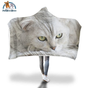 White Cat Hooded Blanket
