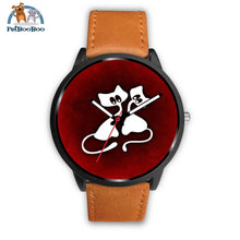White Cats Black Watch Mens 40Mm / Brown Leather