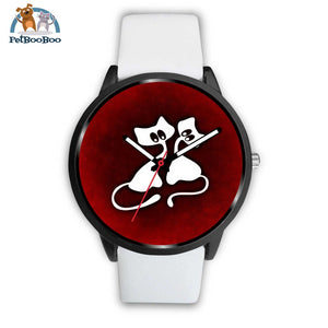 White Cats Black Watch Mens 40Mm / Leather