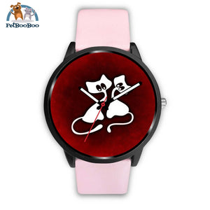 White Cats Black Watch Mens 40Mm / Pink Leather