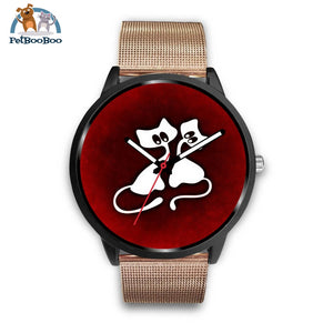 White Cats Black Watch Mens 40Mm / Rose Gold Metal Mesh