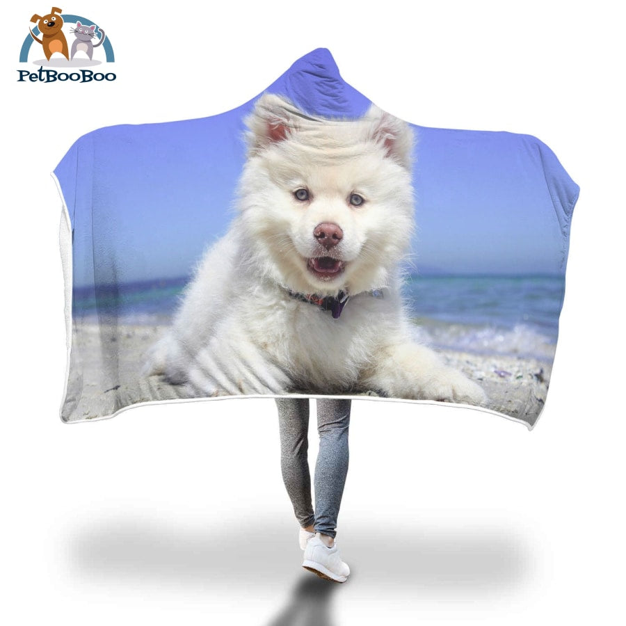 White Dog Hooded Blanket Adult 80X55
