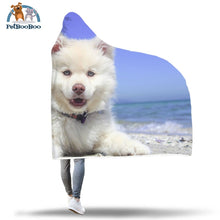 White Dog Hooded Blanket
