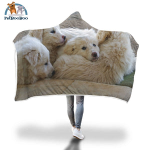 White Dogs Hooded Blanket Adult 80X55