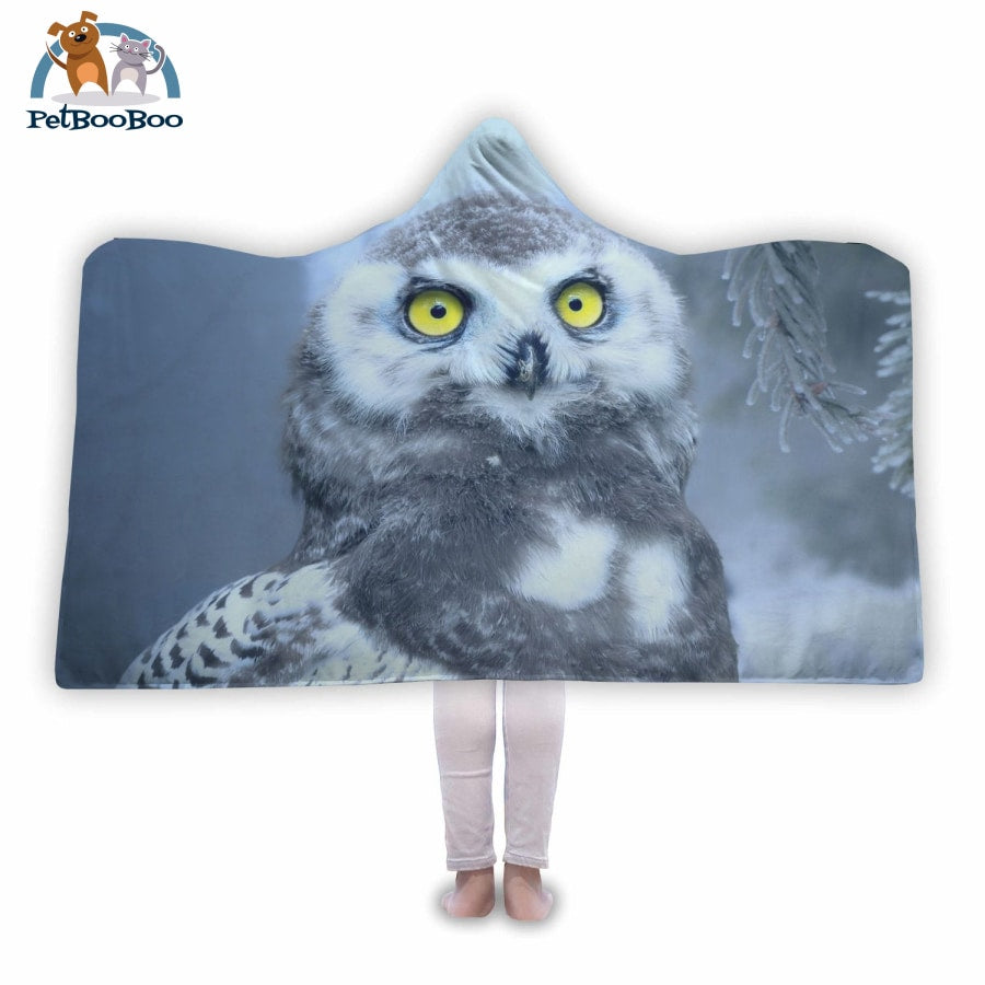 White Owl Hooded Blanket Adult 80X55