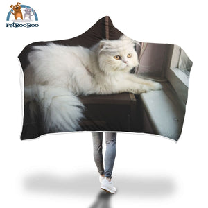 White Persan Cat Hooded Blanket