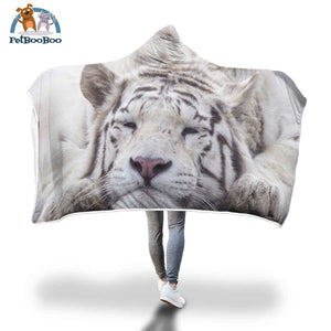 White Tiger Hooded Blanket Adult 80X55