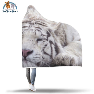 White Tiger Hooded Blanket