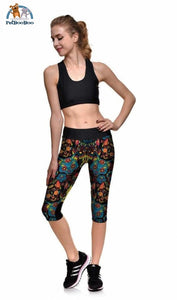 Yoga Colorful Cats Capri For Women 200000366