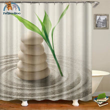 Zen Green Leave & Stones Shower Curtain Light Grey / 180*180Cm 154006