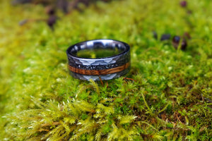 How to make The Maguire: Tungsten, Meteorite and Wine Barrel Wedding Ring