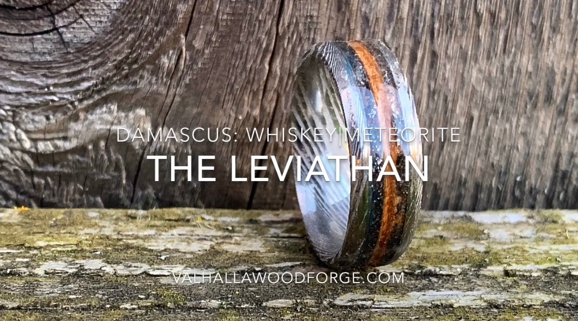 How to make The Leviathan: Damascus, Whiskey Barrel & Meteorite Ring