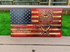 Coast Guard Solid Wood Flag 11x21