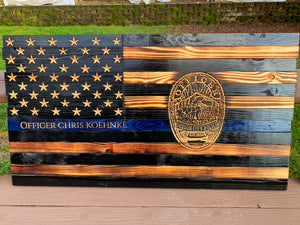Thin Blue Line 19x36 with Agency Badge