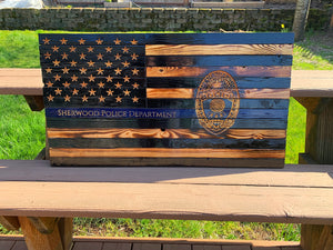 Thin Blue Line Wood Flag with Agency Badge
