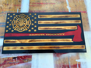 Firefighter Fire Axe Wood Flag