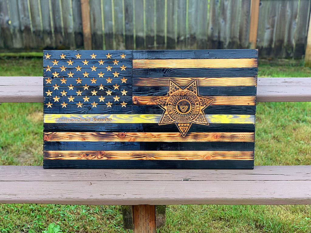 Thin Yellow Line 19x36 with Agency Badge