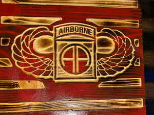 Army Airborne Wood Flag 11x21