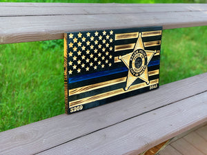 Thin Blue Line Solid Wood Flag 11x21