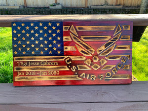 US Air Force Solid Wood Flag 11x21