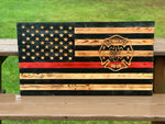 Thin Red Line Firefighter Wood Flags