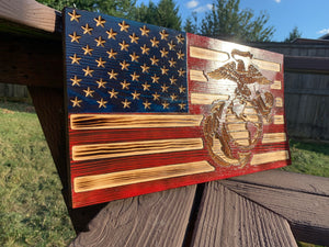USMC Solid Wood Flag 11x21
