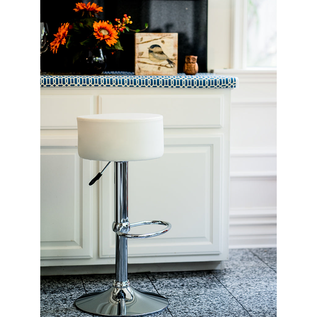 VF1581014-Adjustable Height Backless Swiveling PU-Leather Bar Stool with Footrest (Ivory)