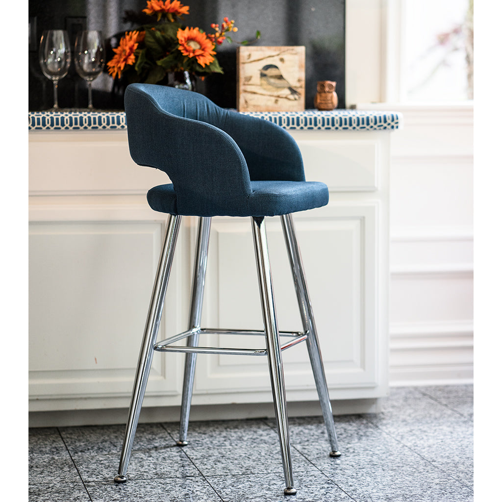 Brage Living Miramar Contemporary Blue Fabric Barstool with Chrome Metal Legs