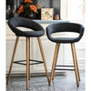VF1681006-Contemporary Fabric Seating Bar Stool with Wooden Legs (Dark Grey)