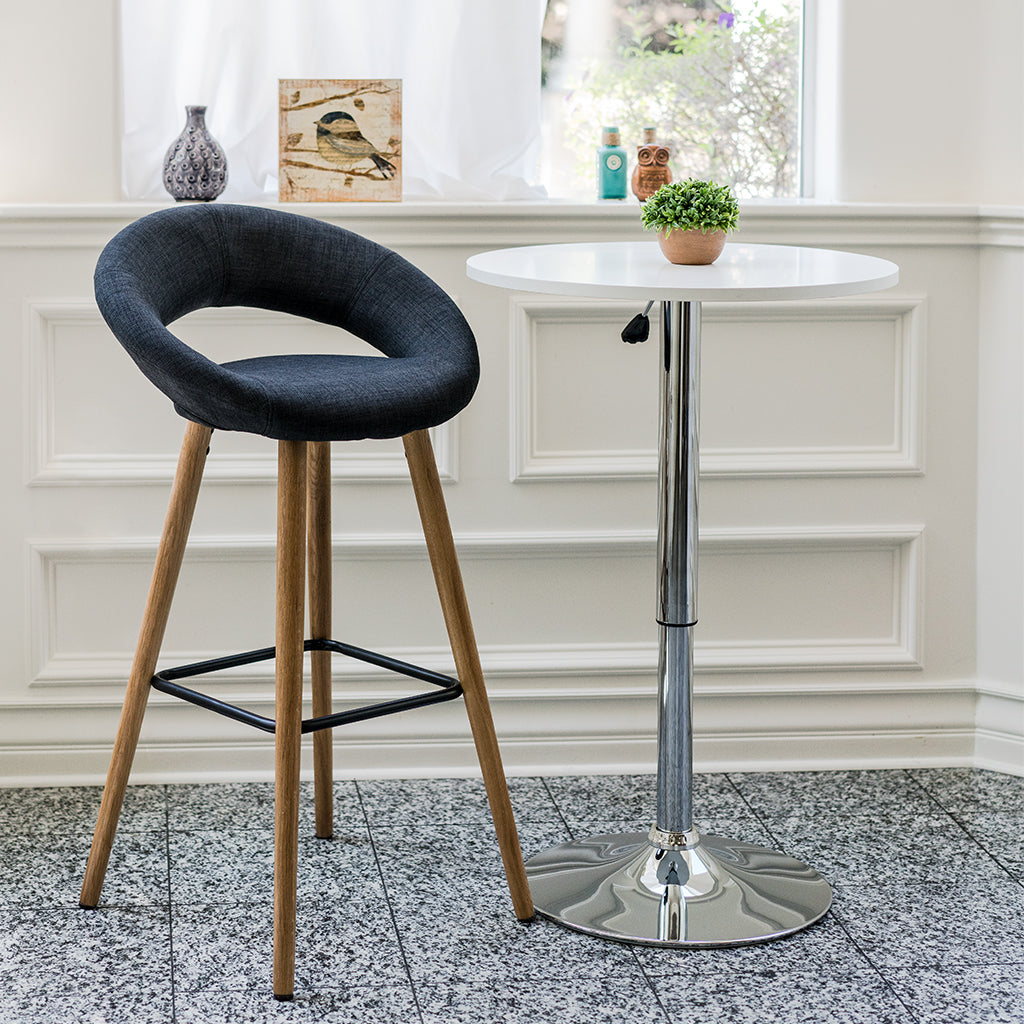 Vf1681005 Contemporary Fabric Seating Bar Stools With Wooden Legs Dark Grey