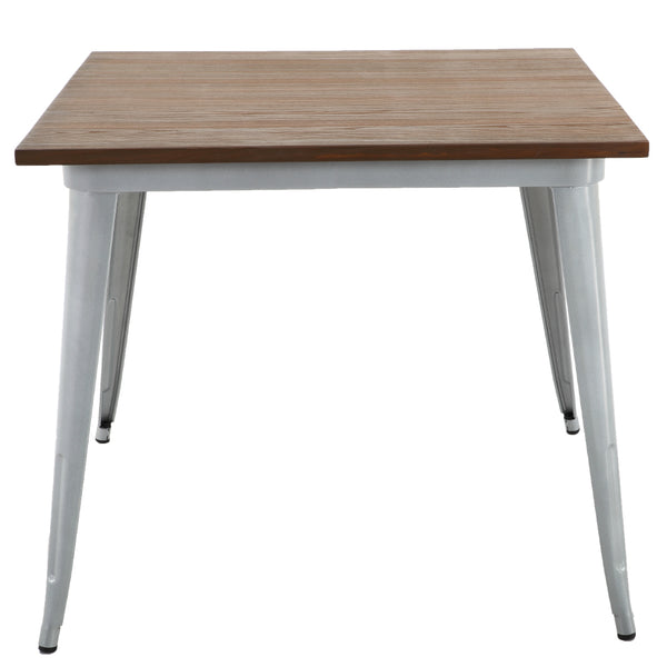 "BR1951003-31"" Square Metal Table With Elm Wood Top"