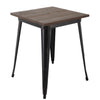 "BR1951005-31"" Square Metal Table With Elm Wood Top"
