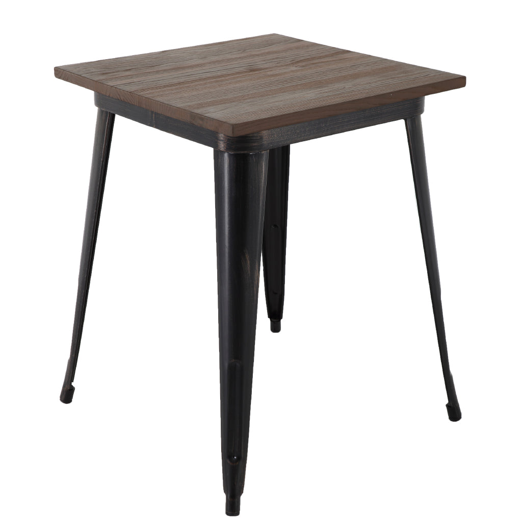 Brage Living Taproom 30.75-inch Elm Wood Top Square Metal Table