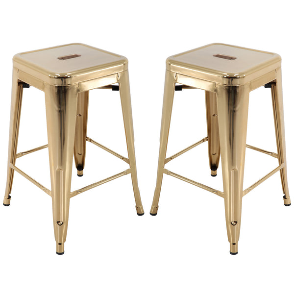 Brage Living Millard Stackable Industrial Metal Counter Stool - (Set of 2)