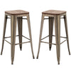 "Brage Living Washburn 30"" Elmwood and Steel Bar Stool Set (Set of 2)"