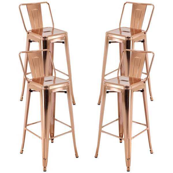 "Brage Living 30"" Square Seat Metal Barstool With Low Back - Rose Gold (Set of 4)"