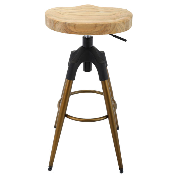 Brage Living Bombard Carved Wooden Seat Counter and Bar Stool