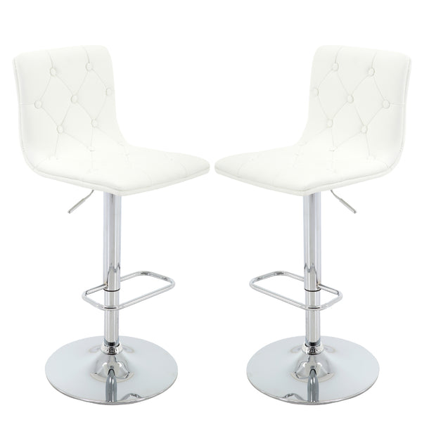 BR1981014-2-Tufted PU Leather Adjustable Height Barstool with Chrome Base and Footrest