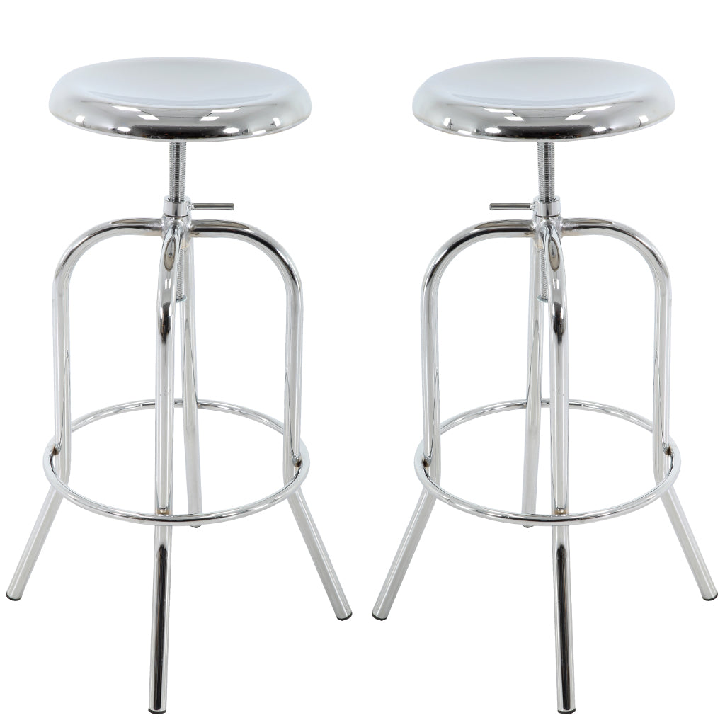 Brage Living Venus Chrome Counter and Bar Stool Set (Set of 2)