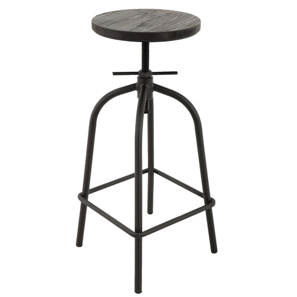BR1981023-2-Retro Elm Wood Seat Top Height Adjustable Metal Bar Stools (Set of 2)