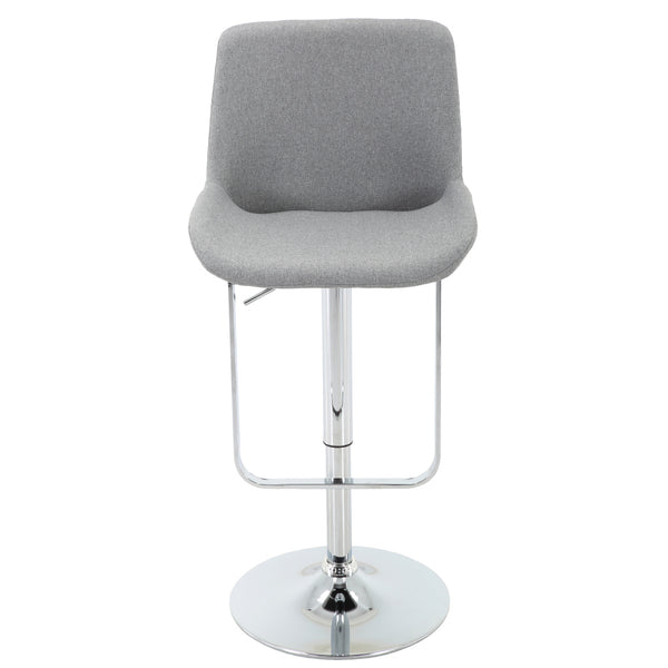 BR1981025-Height Adjustable Square Frame Light Grey Upholstered Barstool