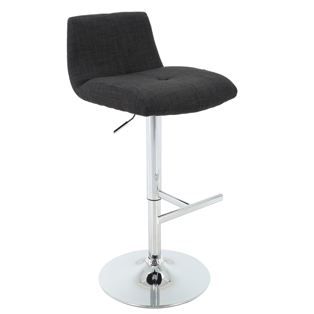 BR1981026-Dark Grey Upholstered Height Adjustable Barstool With T-Shape Footrest