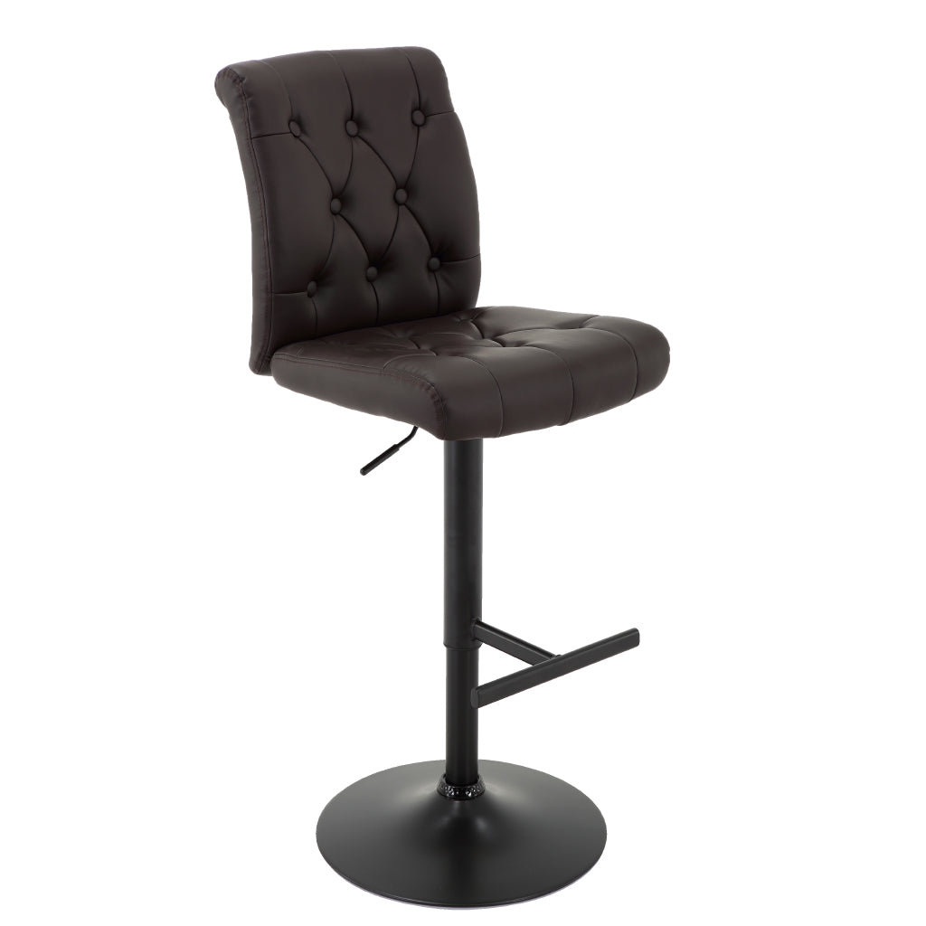 BR1981029- Adjustable Height Tufted Bar Stool with T-Shape Footrest