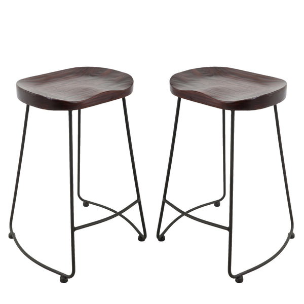 BR1991005-2-Solid Elm Wood Seat Top Metal Stools (Set of 2)