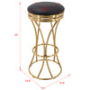 BR1991006-Round Gold Backless PU Leather Barstool